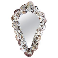 Mid-Century Modern French Wall Mirror Adorned with Shells, 1970s