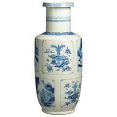 19th Century Blue and White Porcelain Rouleau Vase