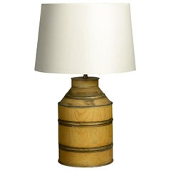 Yellow Ochre Painted Tole Canister Table Lamp