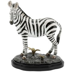 Zebra Sculpture in White Porcelain