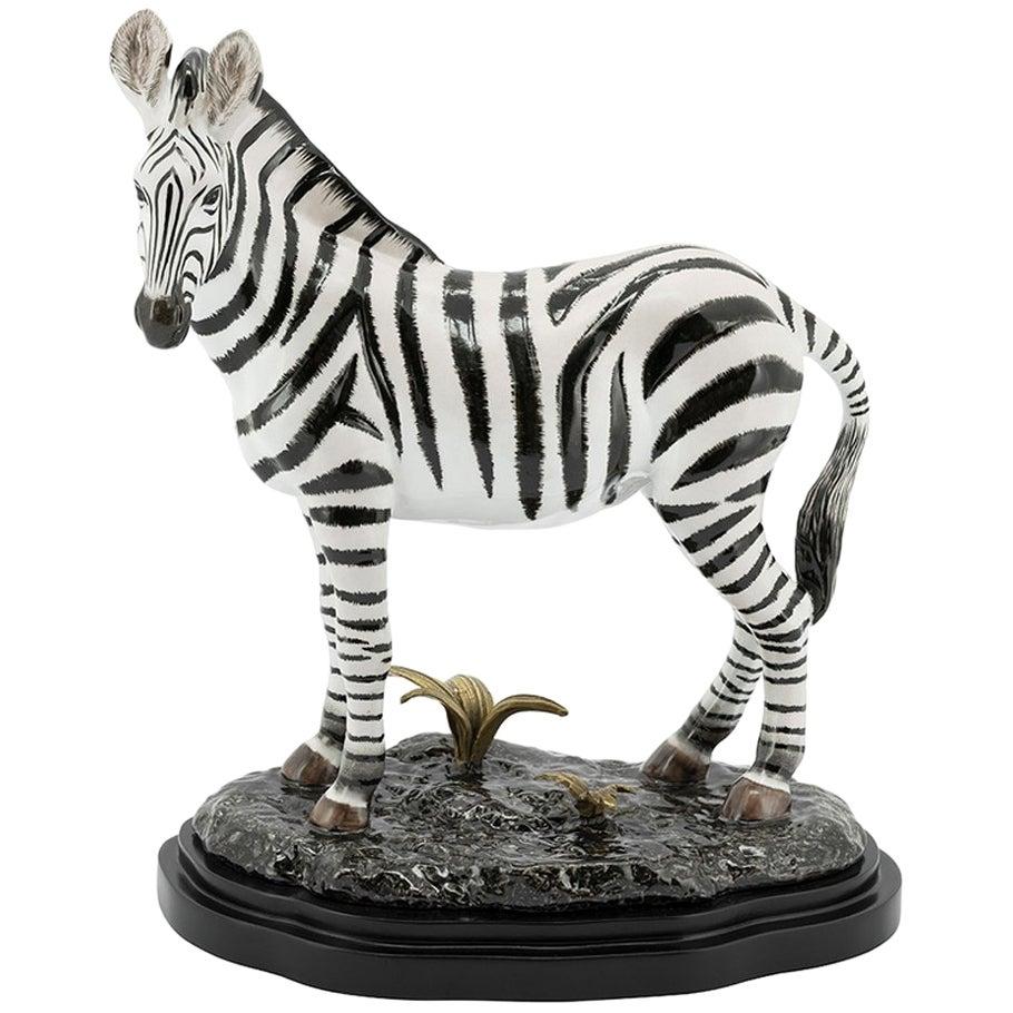 Zebra Sculpture in White Porcelain