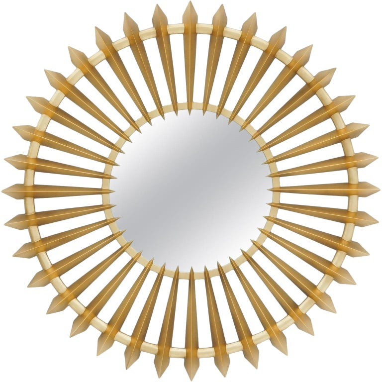 Turbine Gold Mirror in Solid Mahogany Wood For Sale