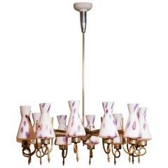 1940s Beautiful Large Brass and Multicolored Murano Venini Glass Chandelier