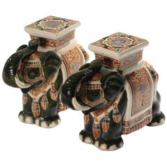 Pair of French Hollywood Regency Porcelain Elephant Decoration, 1970s
