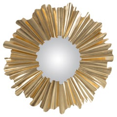 Fluted Gold Mirror in Solid Mahogany Wood