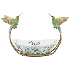 Birds Porcelain Cup with Bronze Frame