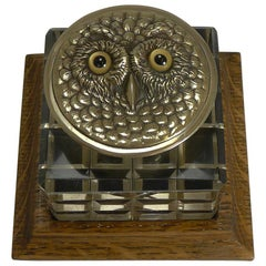 Antique English Novelty Cut Crystal and Brass Inkwell, circa 1890, Owl