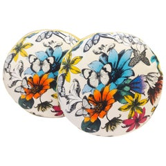Round Throw Pillows with Colorful Flower and Butterfly Print