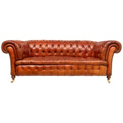 20th Century Hand Dyed Brown Leather Chesterfield Sofa