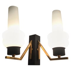 Stilnovo Couple Sconces Italia Brass Iron, White Opal Glass, 1950