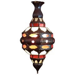 Moroccan Glass Lantern, EL Makki Style, Frosty White and Red Glass