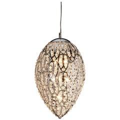 Egg Medium 1 Pendant Lamp, Chrome Finish, Arabesque Style, Italy