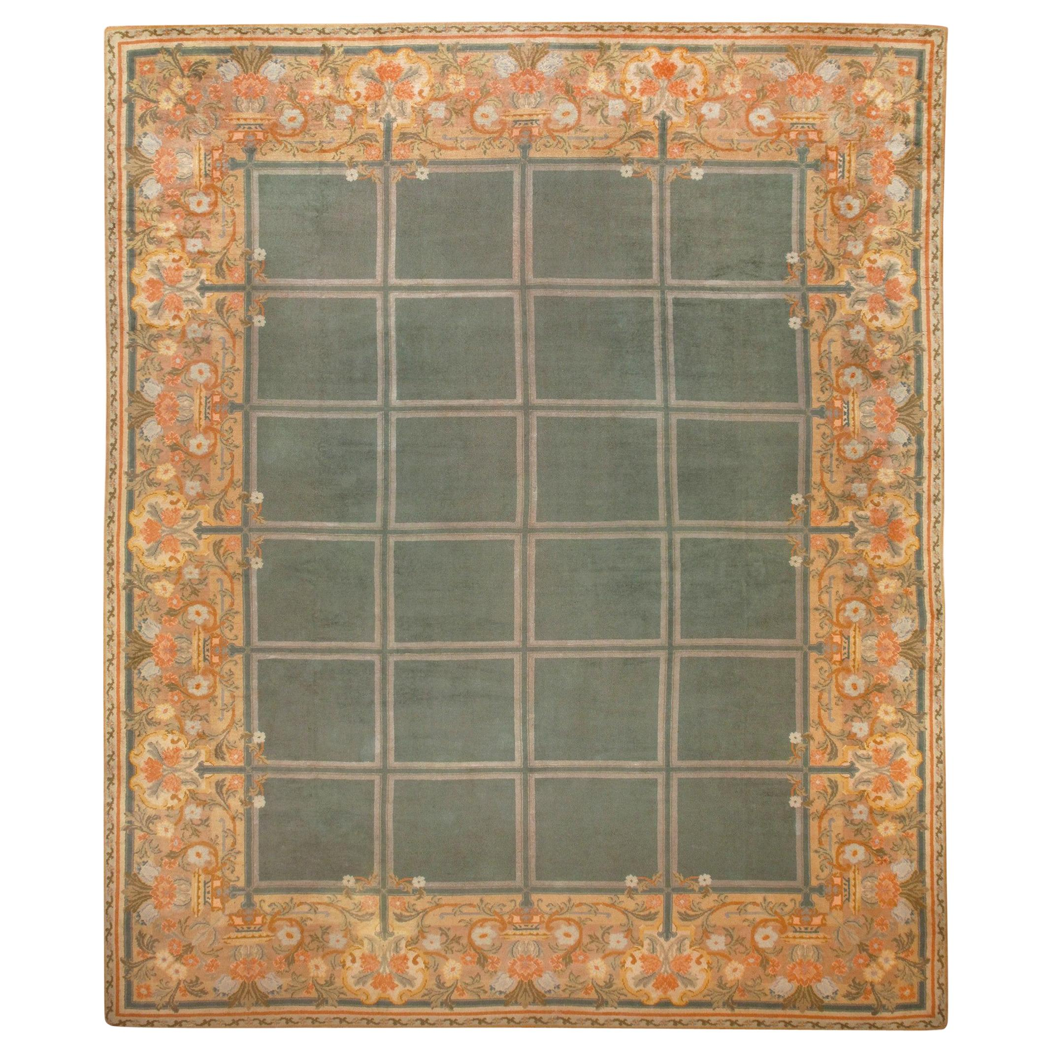 Large Green Antique Spanish Savonnerie Carpet. Size: 15 ft 6 in x 19 ft