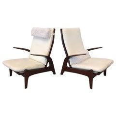 Französische polierte Lounge-Sessel aus Rosenholz