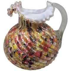 Multicolored Glass Pitcher
