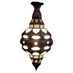 Moroccan Glass Lantern, EL Makki Style, All Frosty White Glass