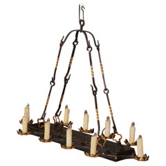 Late 19th Century French Iron Ten-Light Flat Bottom Chandelier