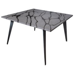 Modern Square Table in Etna Lava Stone and Steel, FilodiFumo 2nd, New York
