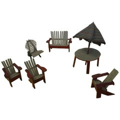 Folk Art Adirondack Chairs with Table and Umbrella