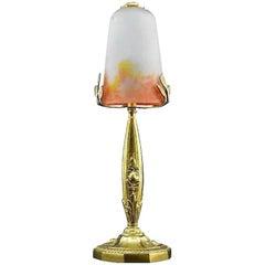 Muller Freres und Charles Ranc Französische Art Deco Bronze Tischlampe, 1925