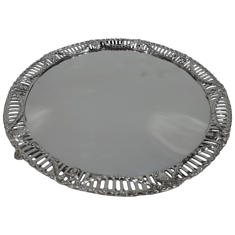 Antique English Edwardian Regency Revival Sterling Silver Salver Tray