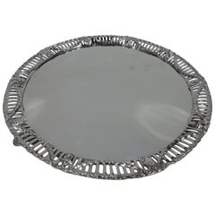 Antique English Edwardian Regency Revival Sterling Silver Salver Tray