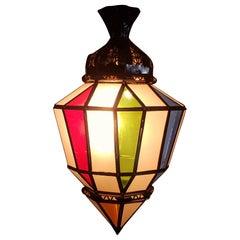 Moroccan Multicolor Glass Lantern LM 22