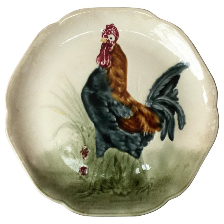 19th Century Blue Majolica Rooster Plate Choisy Le Roi For Sale
