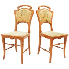 Spanish Art Nouveau Antoni Gaudi Style Pair of Carved Ashwood Side Chairs