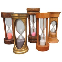"Five Vintage Sand Timer ""Hour"" Glass Timers"