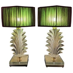 Pair of Hand Blown Murano Clear Glass Leaves Table Lamps, 1940s