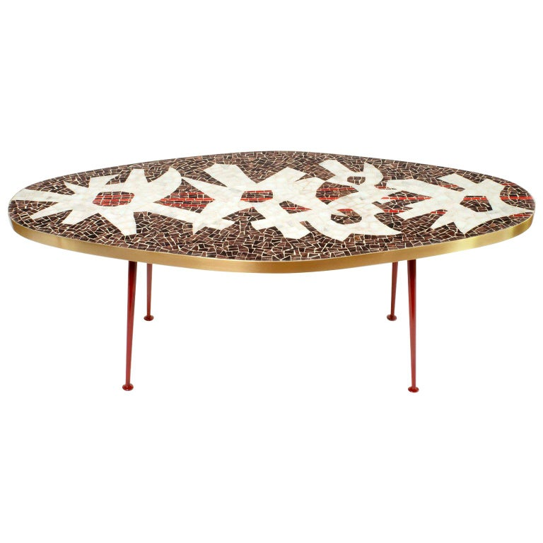Oval Mid-Century Modern Mosaic Coffee Table For Sale At