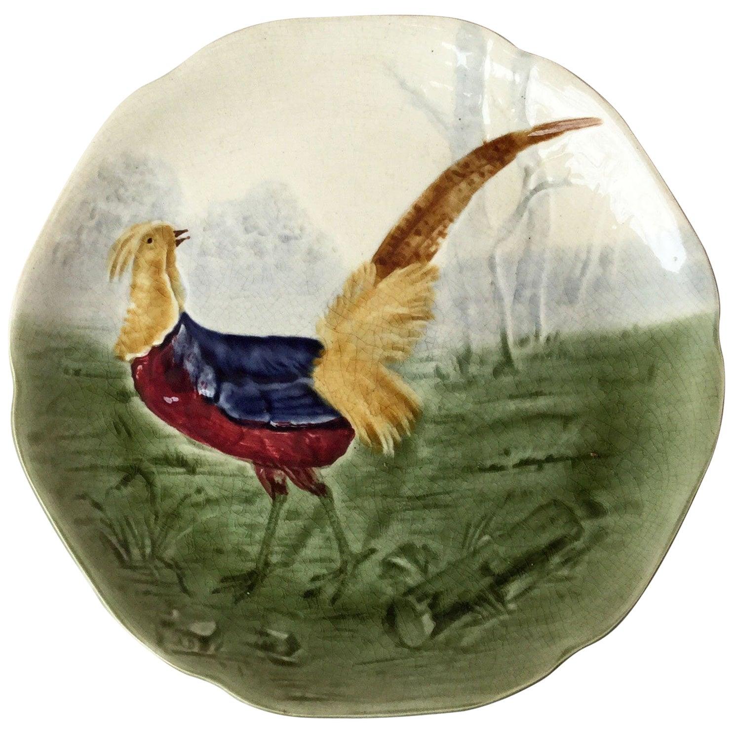 19th Century Blue Majolica Pheasant Plate Choisy Le Roi