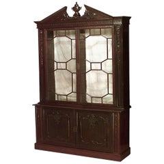 English Chinese Chippendale Style Breakfront Cabinet