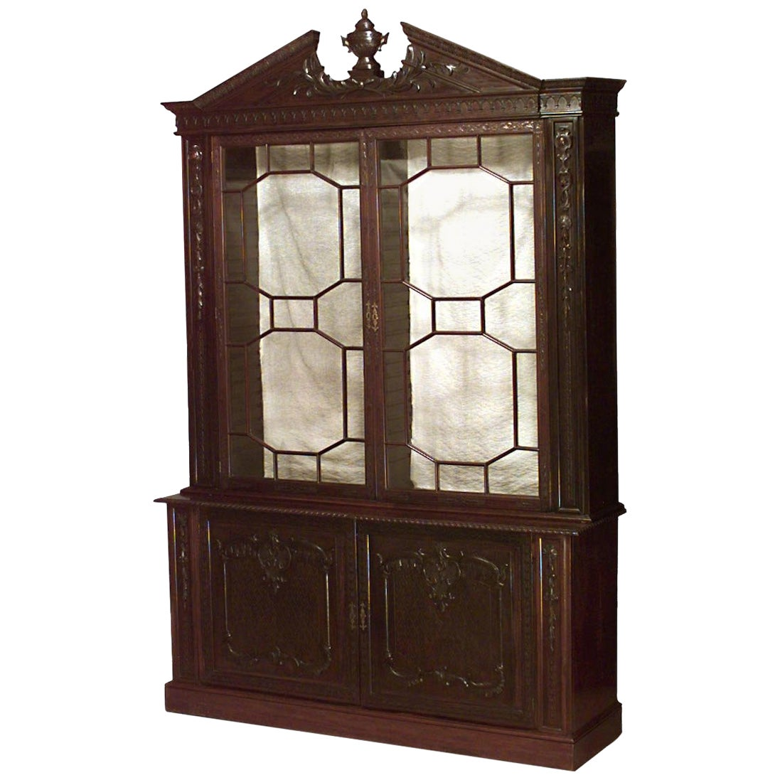 19th Century English Chinese Chippendale Style Breakfront Cabinet
