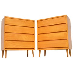 1950s Pair of Vintage Satin Wood Chest of Drawers