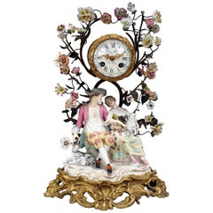 German Meissen Porcelain Group Mantel Clock