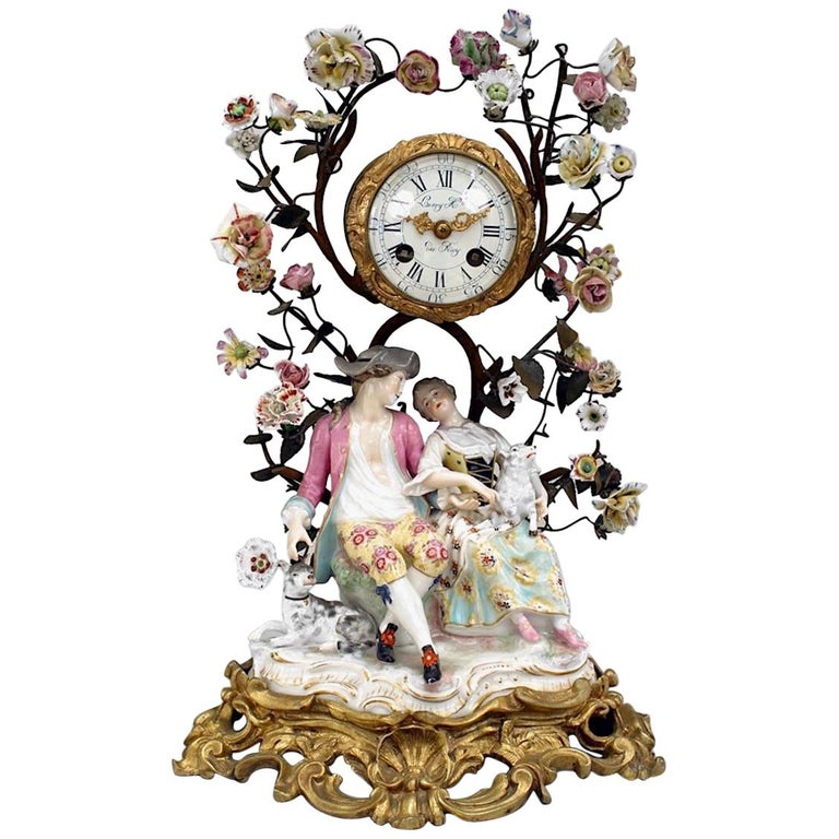 German Meissen Porcelain Clock For Sale