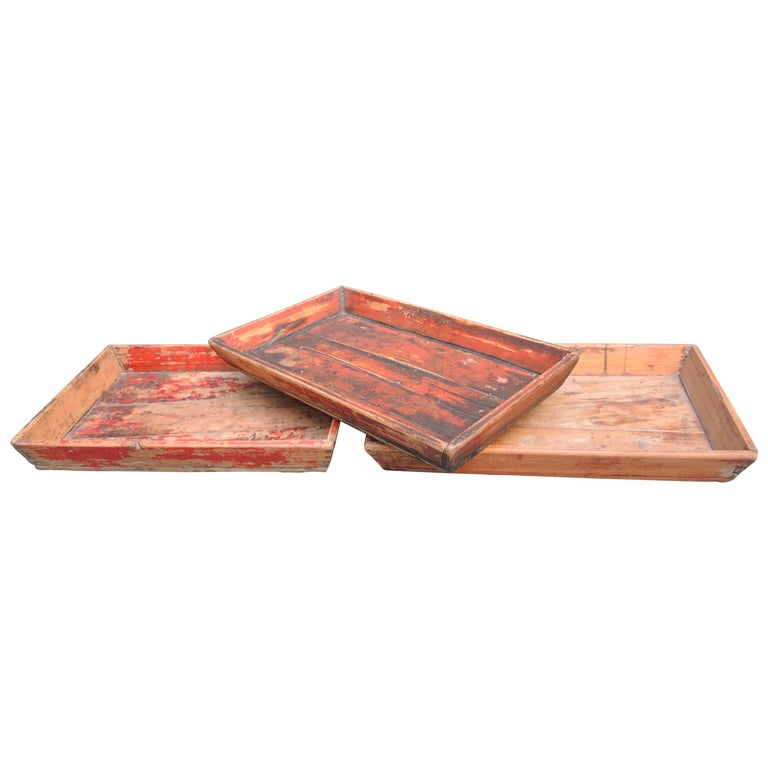 Antique Chinese Provincial Wood Trays with Worn Red Paint For Sale