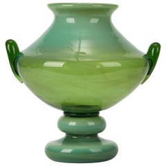Murano Twin Handled Green Art Glass Pedestal Vase, 20th Century