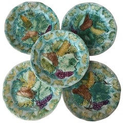Set of Majolica Leaves Plates Onnaing, circa 1900