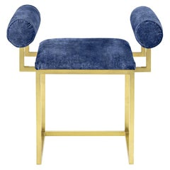 Awaiting, H Stool Brass and Velvet