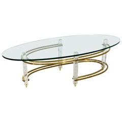 Mid-Century Modern Brass Lucite Surfboard Coffee Table Hollis Jones, 1970s