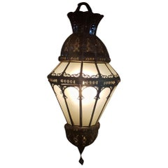 Moroccan Glass Lantern, Umb Style, Frosty White Glass