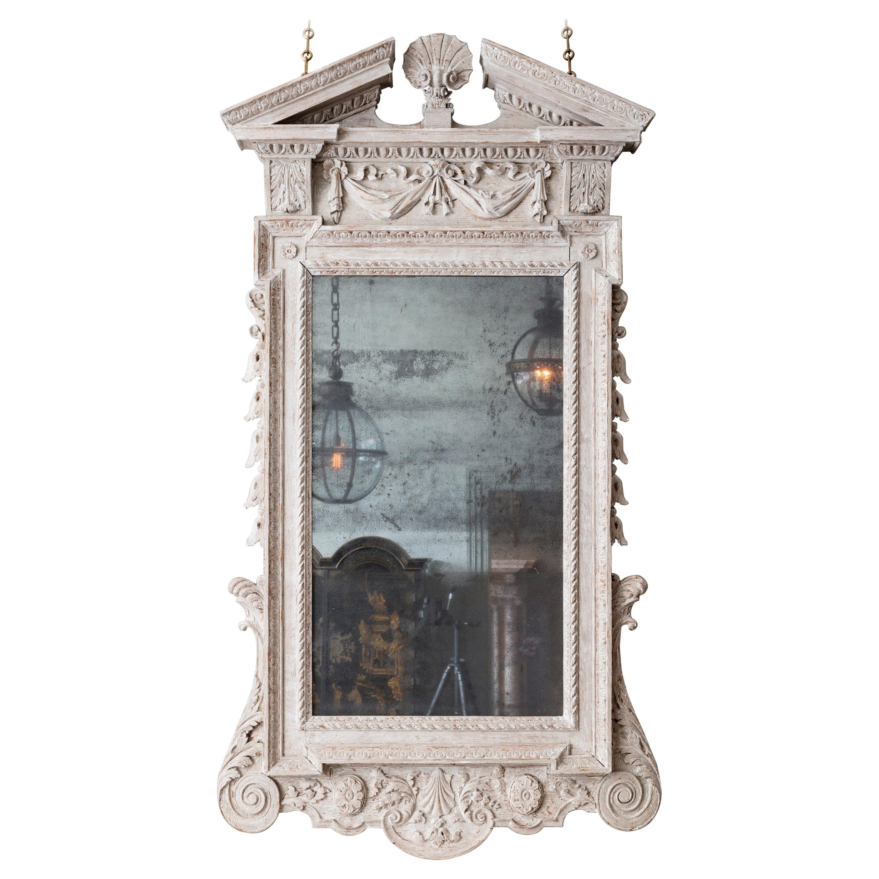 George II White Painted Mirror