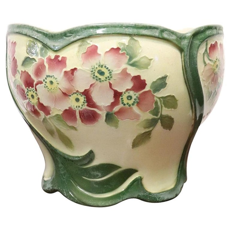 20th Century French Art Nouveau Hand Painted Ceramic Cachepot Vase, 1920s For Sale