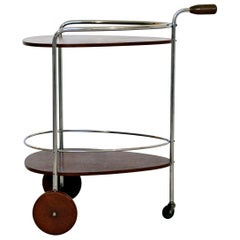 Art Deco Modern Chrome & Wood 2-Tier Bar Serving Server Cart Treitel Gratz 1940s