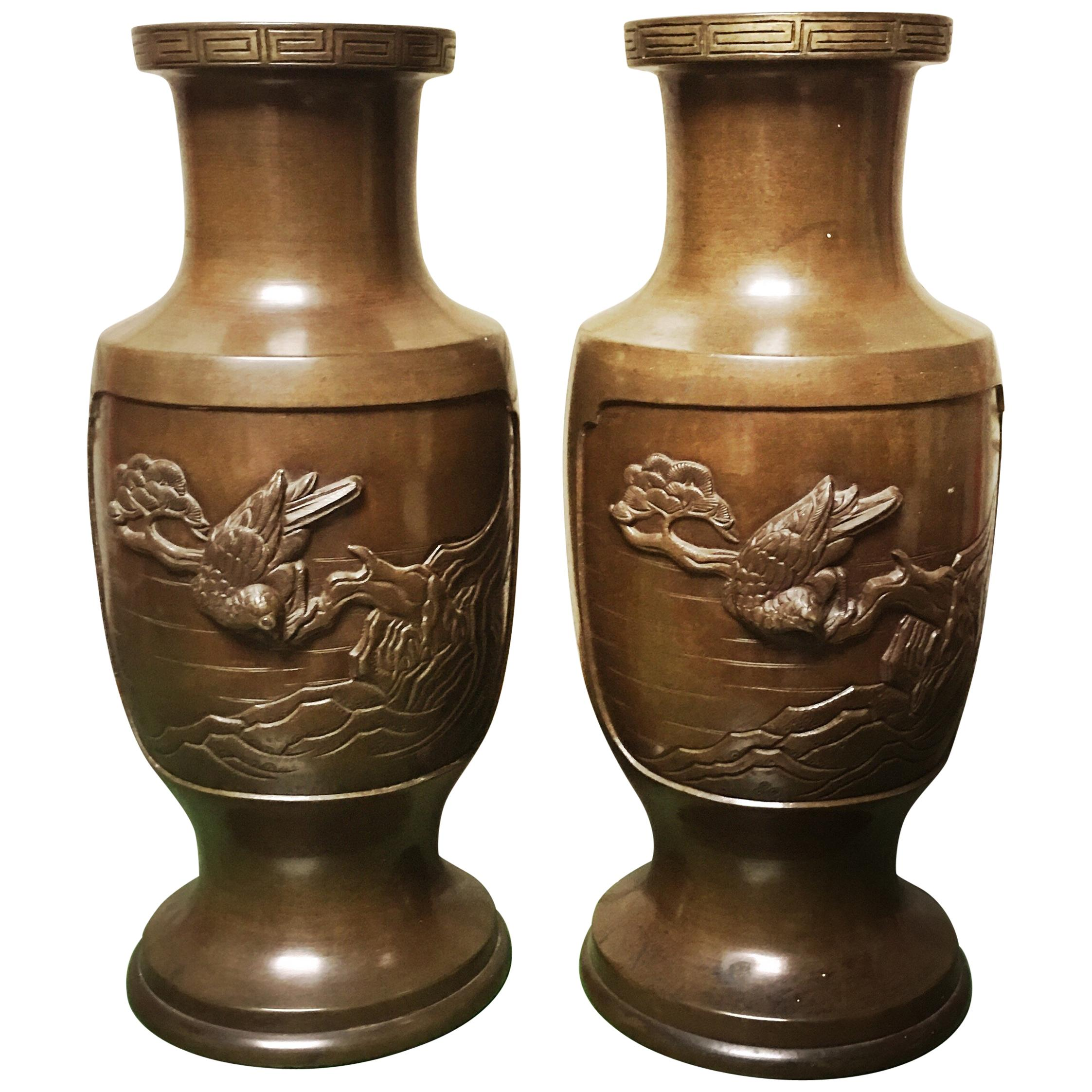 Pair of 19th Century Japanese Bronze Vases