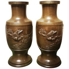 Pair of 19th Century Japanese Bronze Vases
