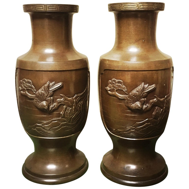 Pair of 19th Century Japanese Bronze Vases For Sale
